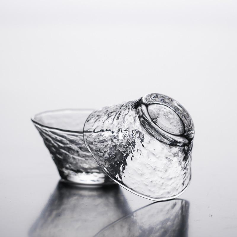 日式玻璃茶杯 主人杯 功夫茶玻璃杯 耐热斗笠品茗杯个人杯水杯图片