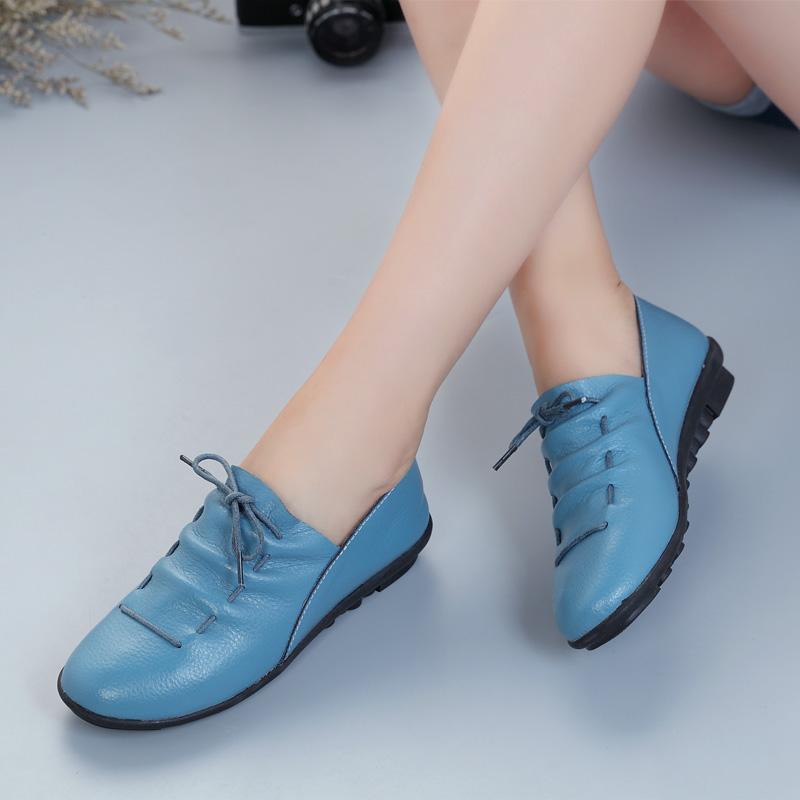 2019春季韩版真皮平底新款女鞋平跟单鞋软底休闲皮鞋妈妈鞋豆豆鞋