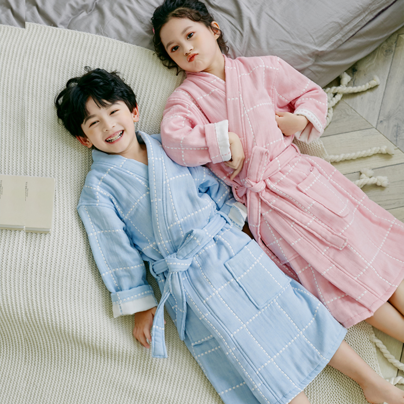 儿童纯棉纱布浴袍宝宝夏季薄款长款男孩女童游泳吸水速干和服浴衣