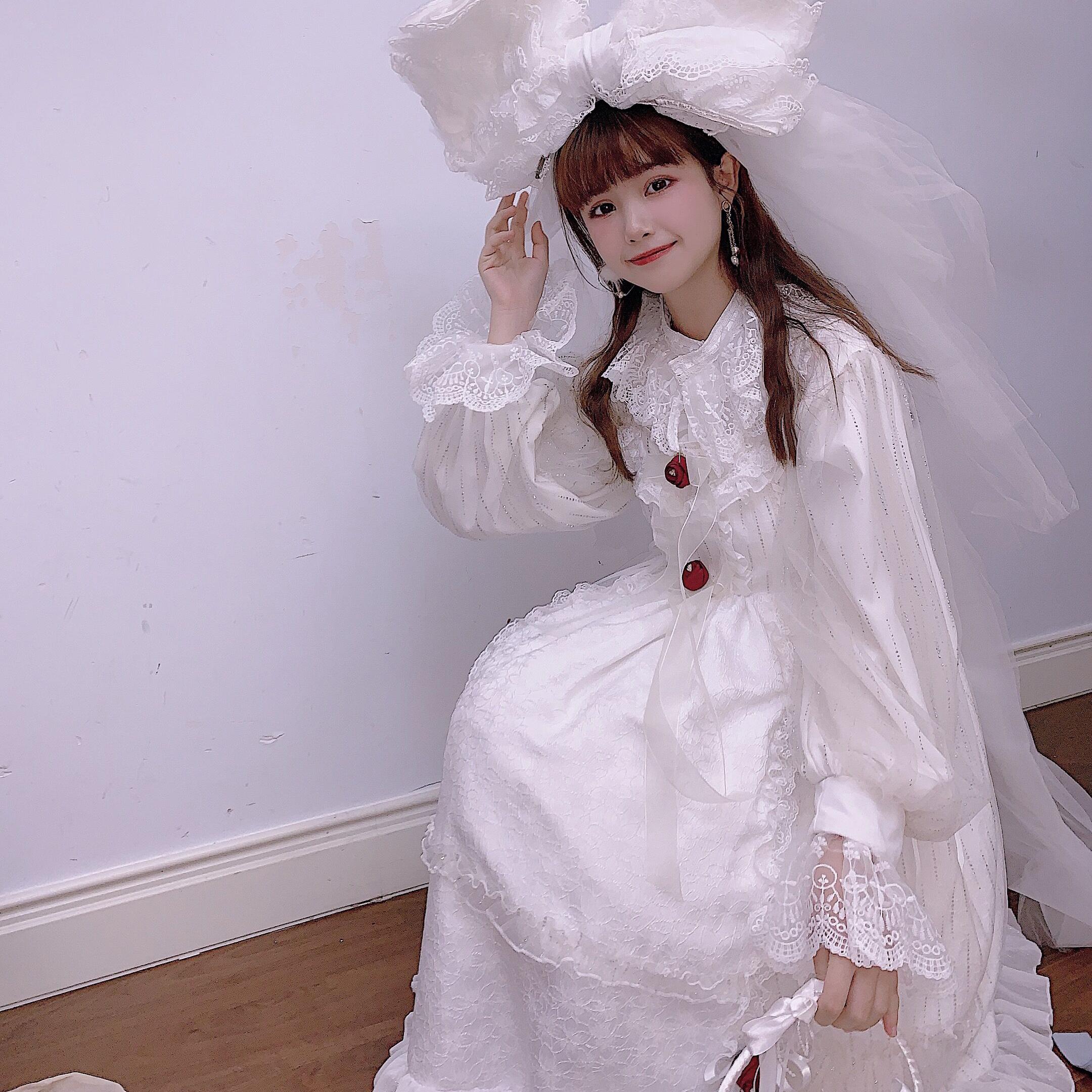【森女想去海边】【玫瑰公主】原创泡泡袖洋装连衣裙少女蕾丝边