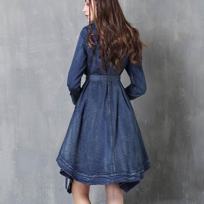 2018春季新品百搭复古刺绣立领修身显瘦系带风衣中长款牛仔外套女