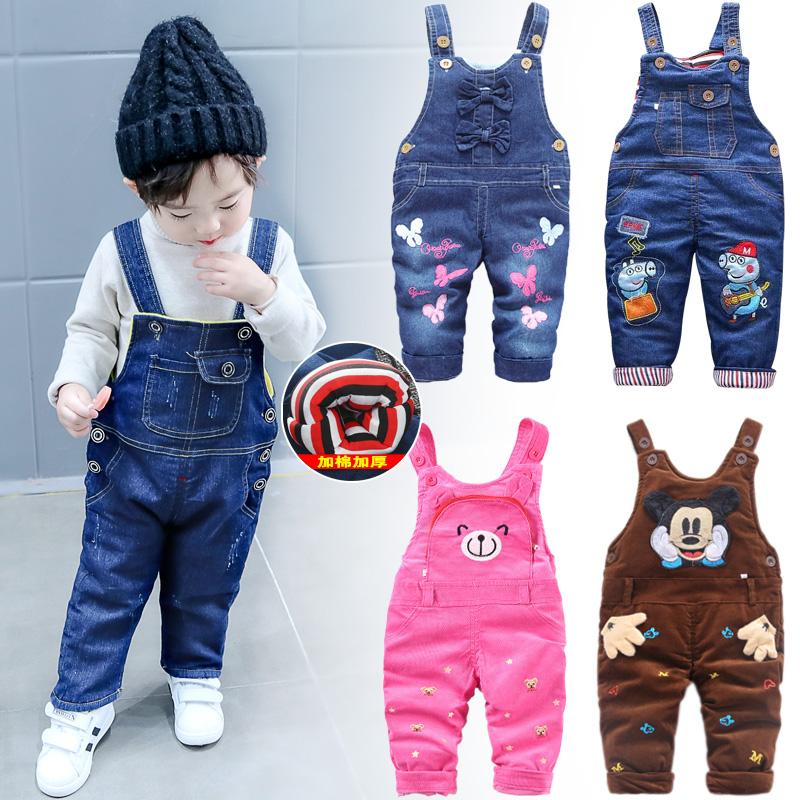 冬款加厚加棉儿童宝宝背带裤长裤牛仔灯芯绒男童女童0123岁婴幼儿