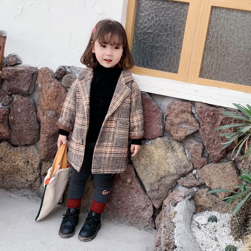 女童呢子外套秋装2019新款洋气秋冬装中小儿童加厚夹棉格子呢大衣