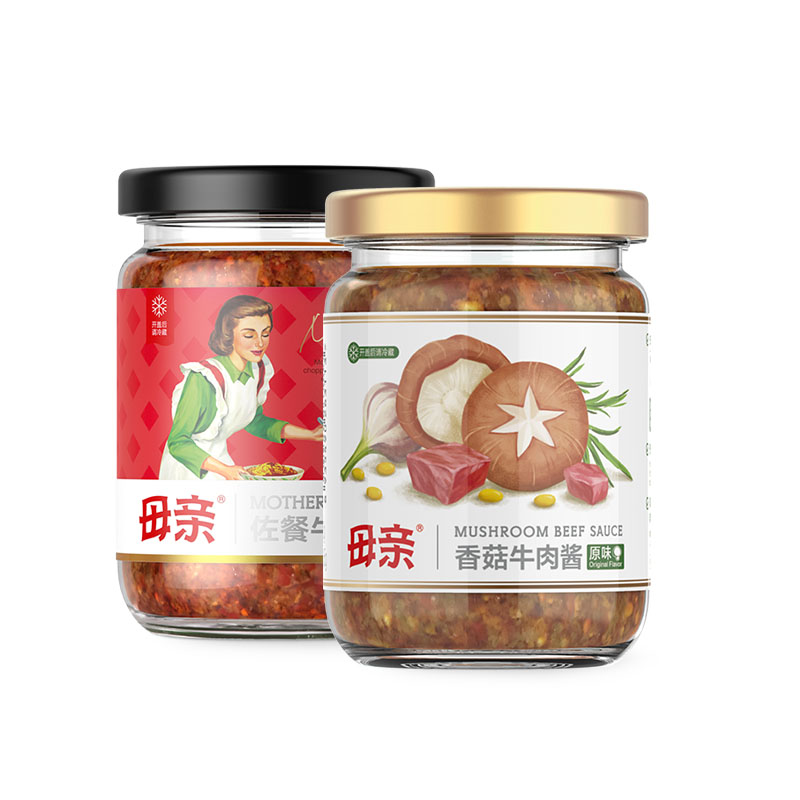 Mother's 母亲 香辣牛肉酱+香菇牛肉酱 220g*2瓶*2件