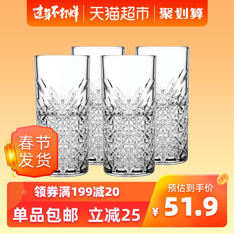 帕莎帕琦进口无铅玻璃威士忌杯家用个性洋酒杯啤酒杯果汁杯子4只
