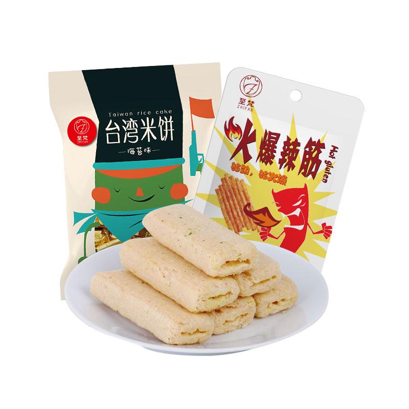至梵台湾米饼海苔味750g粗粮夹心膨化+至梵火爆辣条辣筋25g