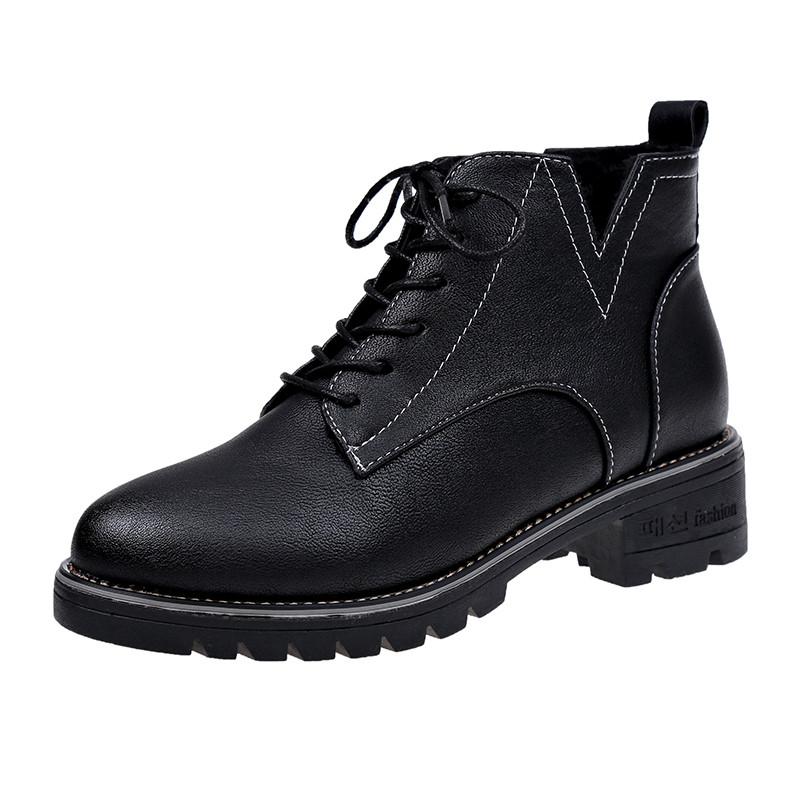 凡麦粗跟马丁靴女冬季2018新款英伦风低跟短靴短筒加绒保暖棉靴子