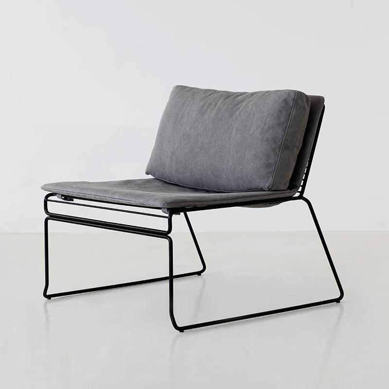 【特惠7折】 iktii艾千HEE简约棉麻休闲椅金属铁艺ins风单人椅子