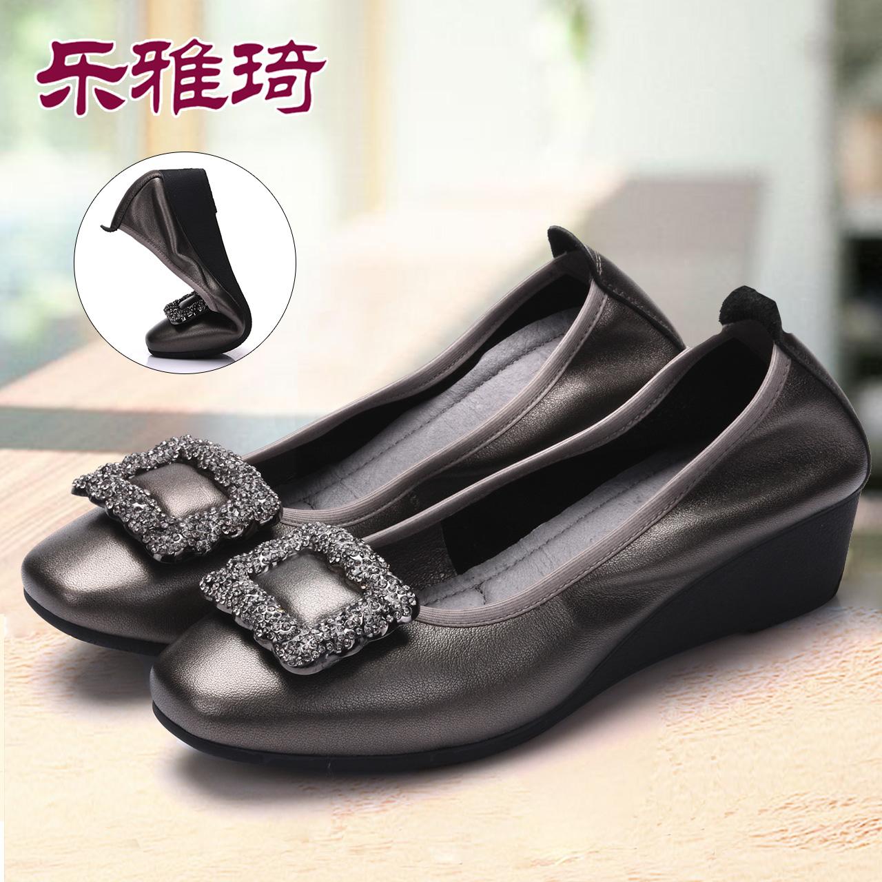 妈妈鞋软底女舒适真皮单鞋女浅口坡跟奶奶鞋2019春新款中老年女鞋