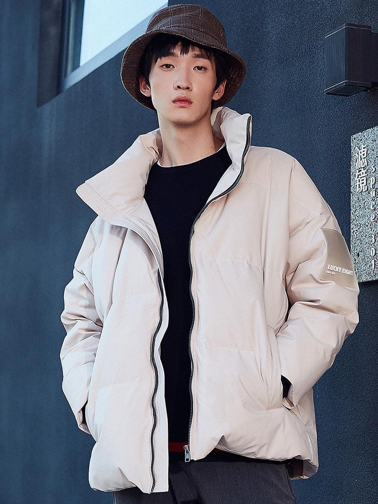 羽绒服男短款2018冬季新款韩版宽松立领青少年加厚面包服男外套潮