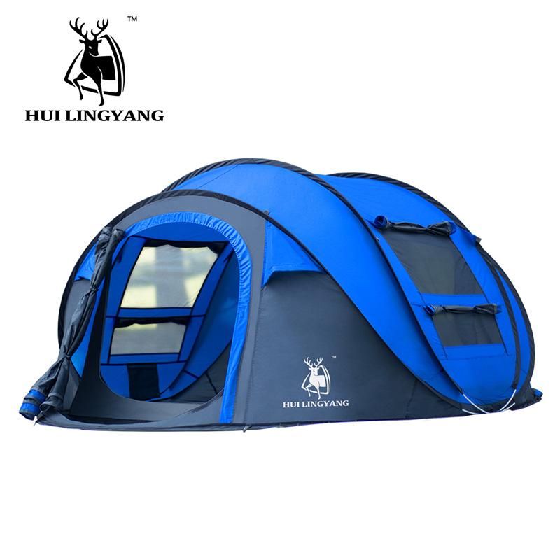 徽羚羊户外帐篷全自动速开家庭野营加厚防雨3-4人露营折叠帐篷
