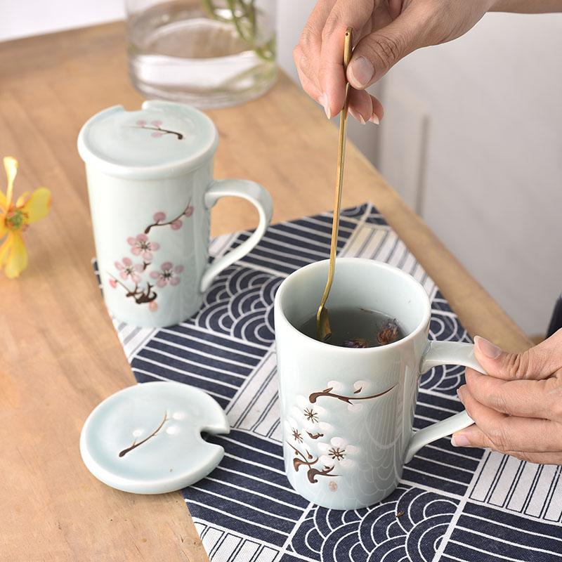 食之器 大容量马克杯子陶瓷带盖简约咖啡创意早餐杯家用水杯情侣