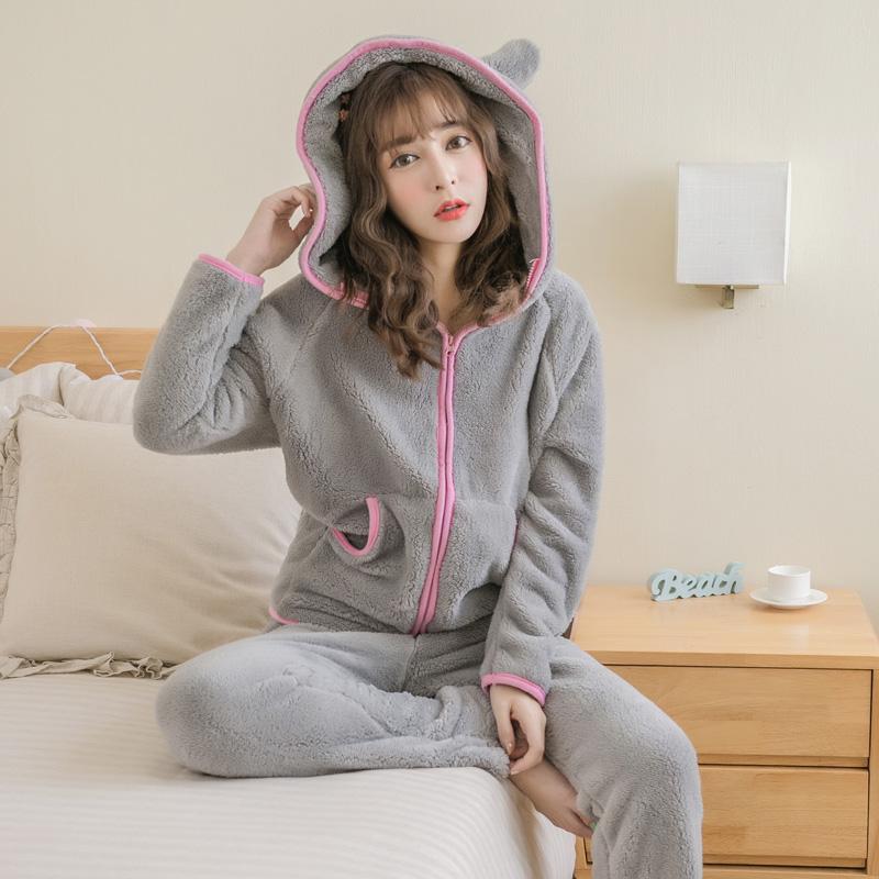 韩版可爱猫兔耳朵秋冬季加厚珊瑚绒睡衣女士法兰绒家居服套装