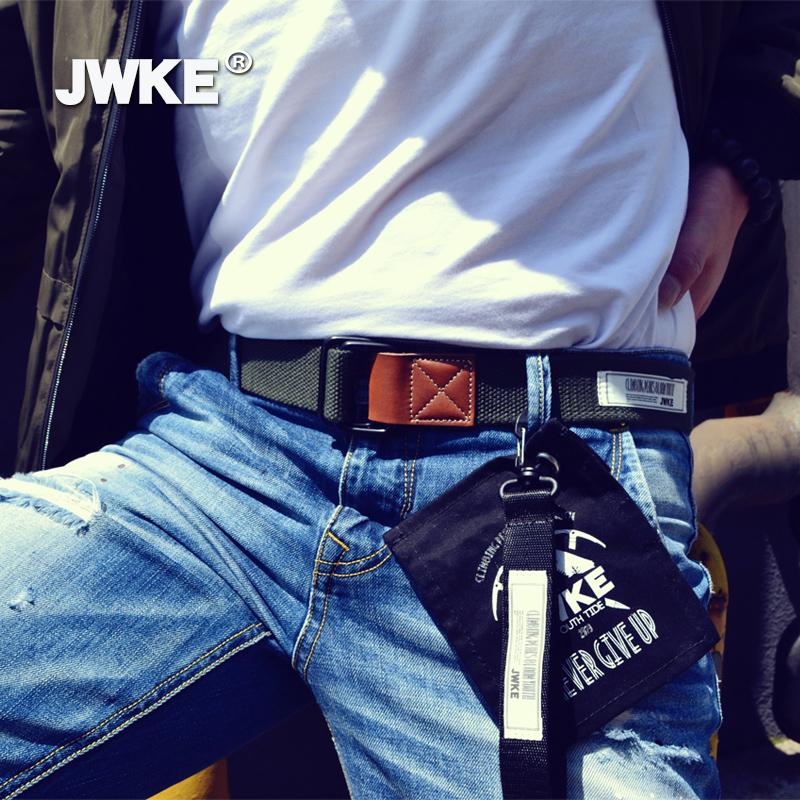腰带男潮ins 年轻人休闲双环扣帆布皮带韩版潮流百搭学生牛仔裤带