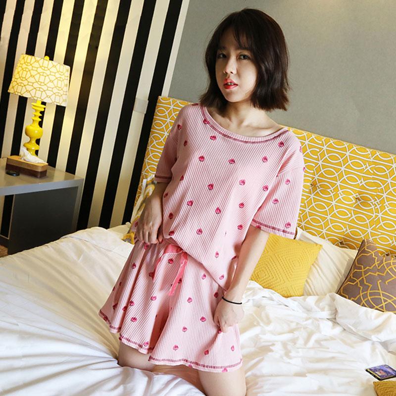 草莓睡衣女夏套装短袖纯棉韩版大码宽松可外穿家居服学生甜美可爱