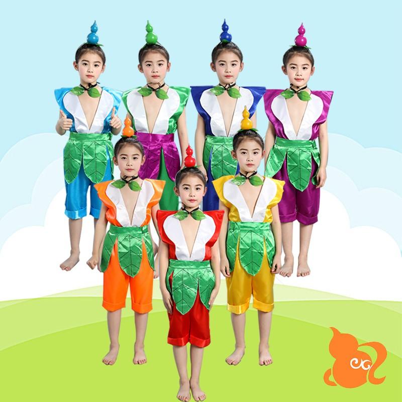儿童葫芦娃演出服装成人衣服环保表演服饰幼儿园春节舞台表演服