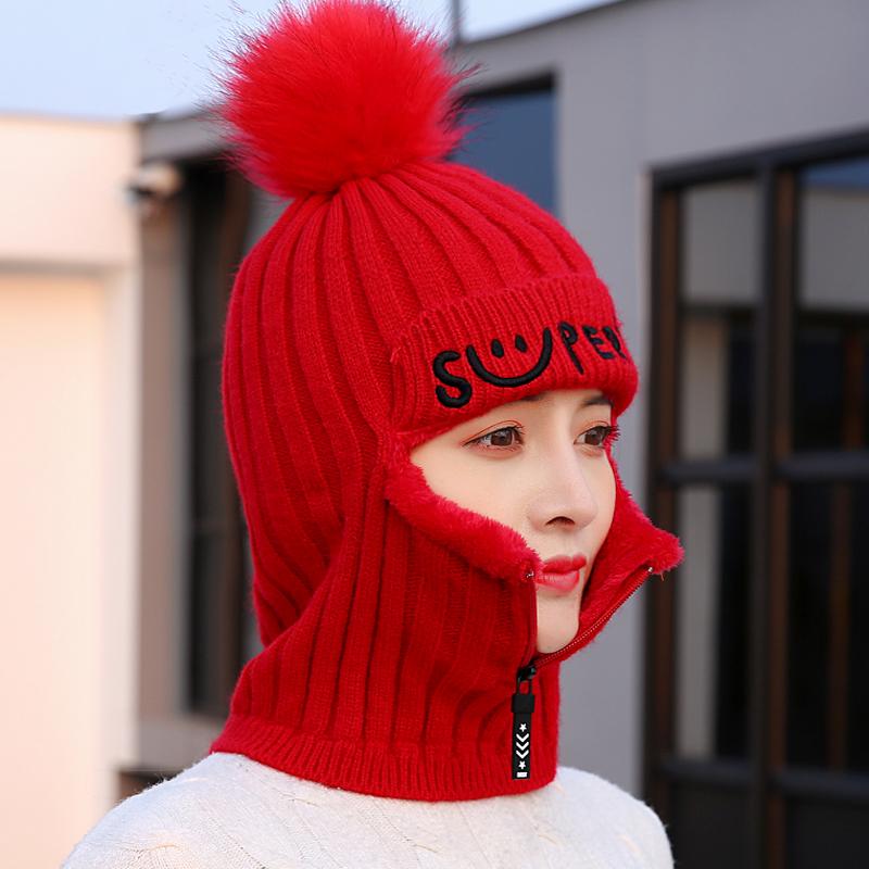帽子女士冬季韩版潮百搭毛线帽冬天可爱加绒保暖骑车防风头帽防寒