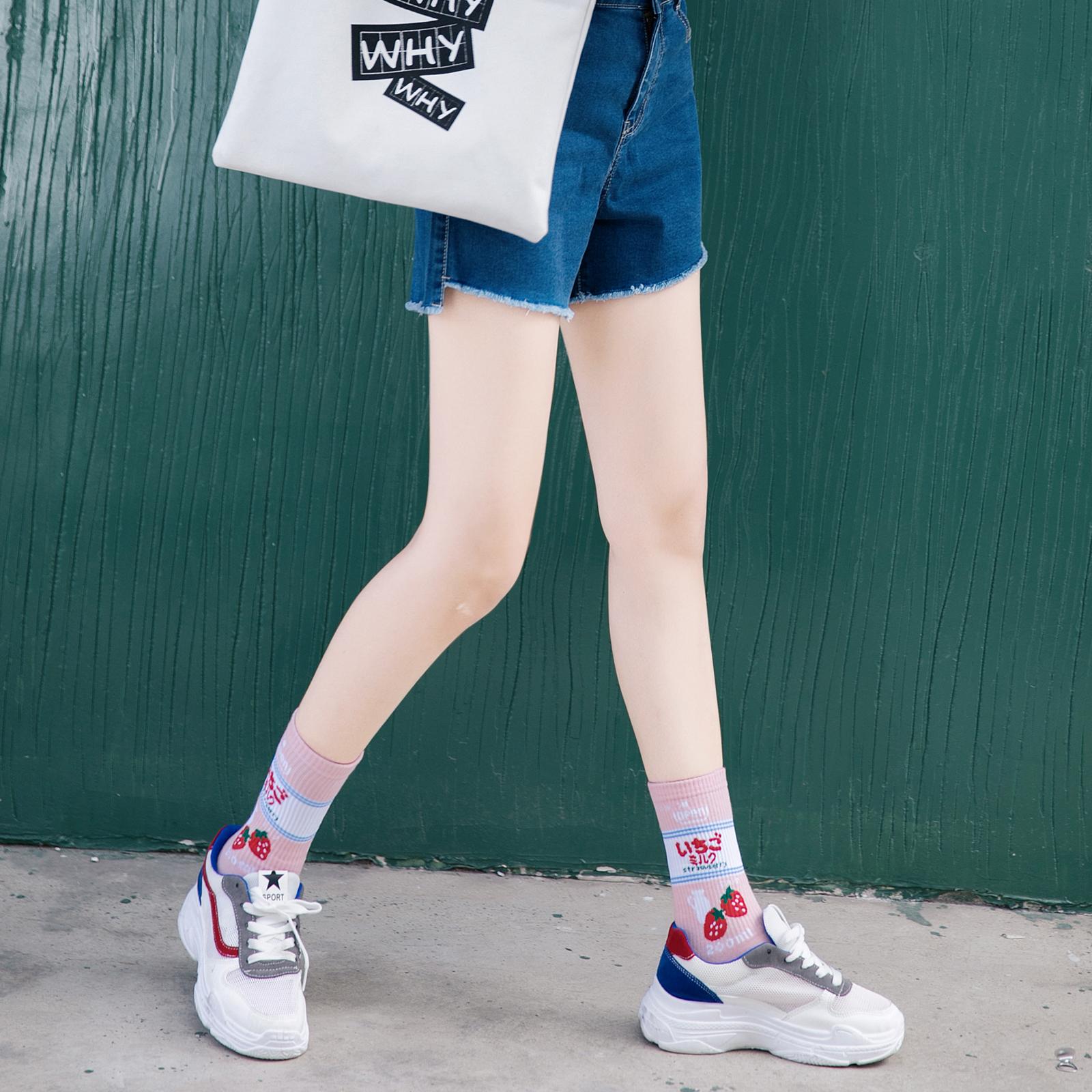 长袜子女韩国学院风中筒袜ins潮牌运动嘻哈原宿风纯棉高帮滑板袜