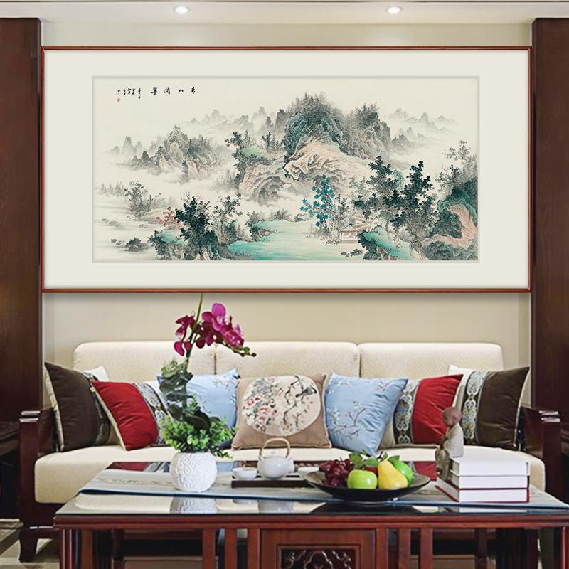 【十年老店】张大千国画山水画中式客厅装饰画办公室挂画春山暮雪