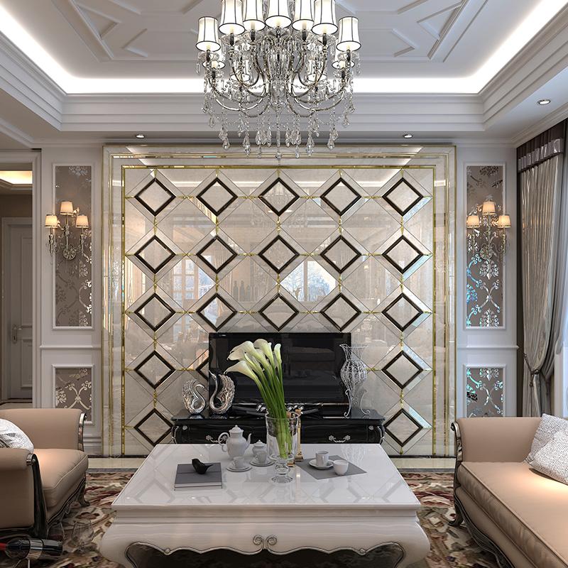 赛牧瓷砖背景墙 现代简约菱形艺术玻璃3d电视墙镜面简欧客厅拼镜图片