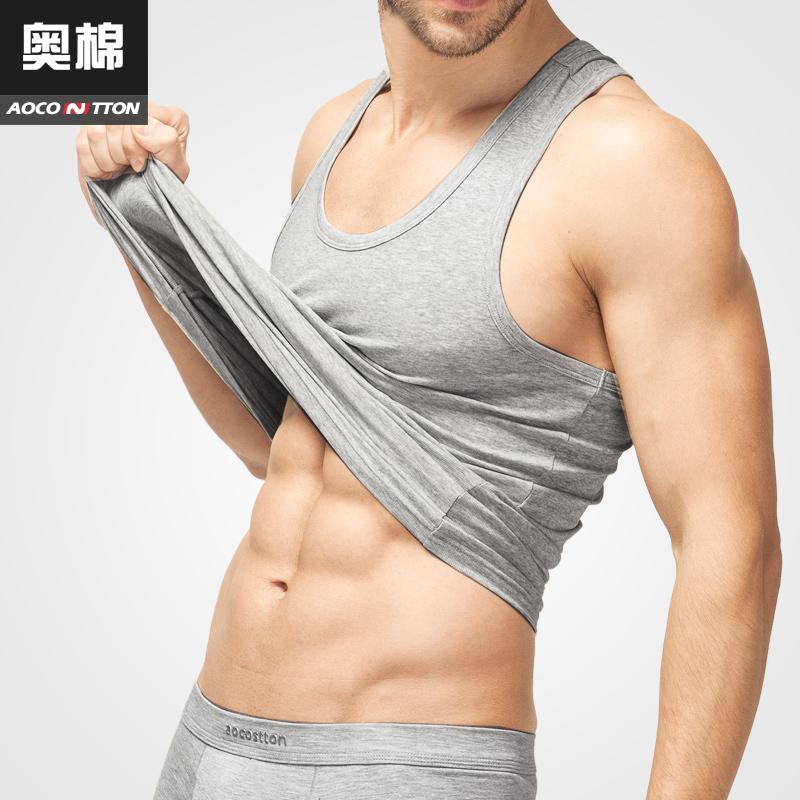 奥棉背心男士纯色夏季莱卡棉工字打底背心修身运动男生韩版潮透气