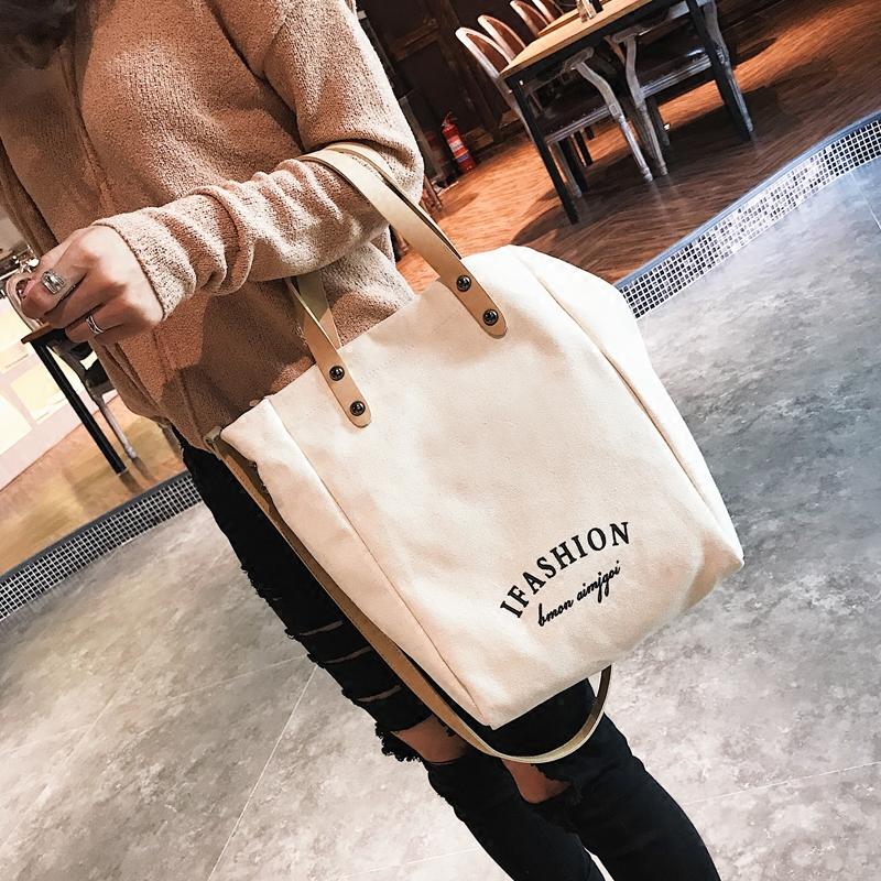 女包2019新款韩版时尚潮chic文艺帆布包百搭手提包单肩斜挎包大包