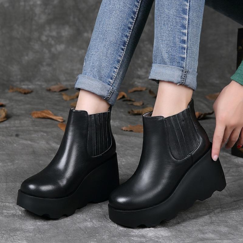 2019冬季新款切尔西靴真皮复古加绒马丁靴防水台坡跟厚底保暖短靴