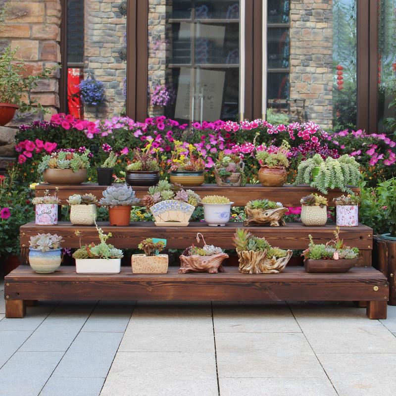 阶梯花架多层碳化防腐实木阳台置物架花棚盆景架台阶花架多肉花架