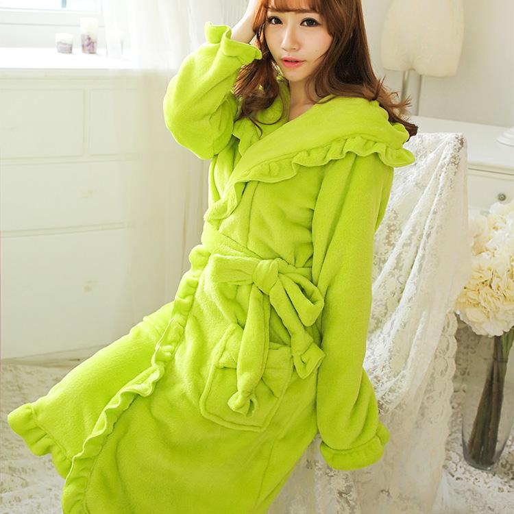 秋冬季法兰绒睡袍女荷叶边珊瑚绒睡衣加长款浴袍可爱家居服