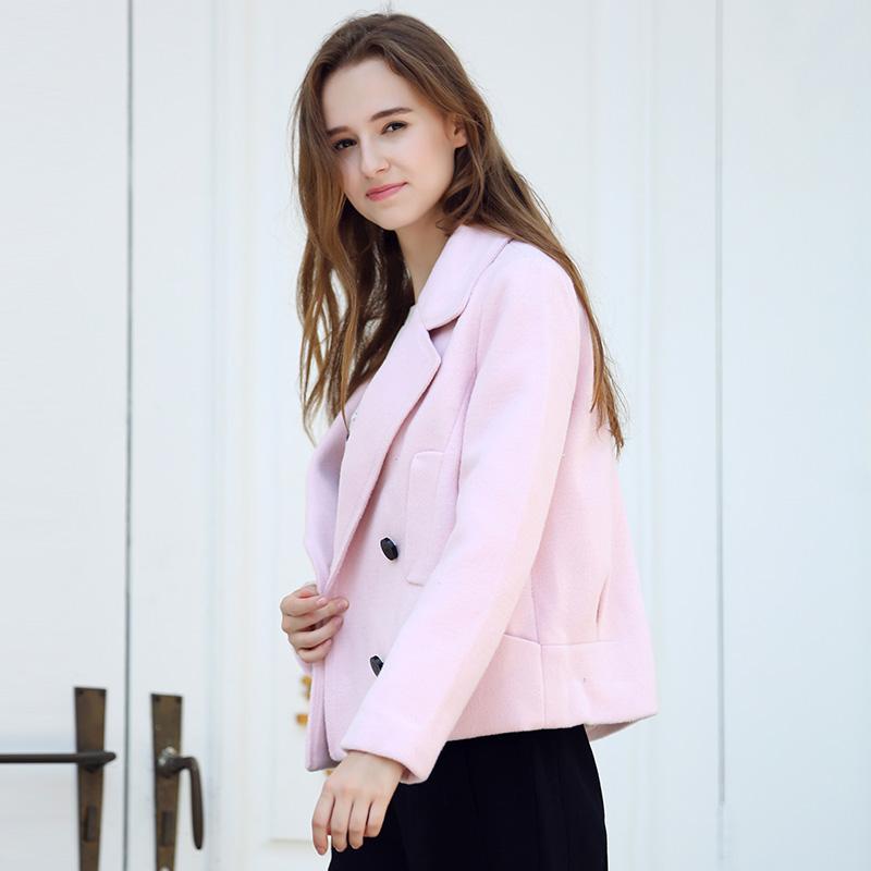 简朵2018冬季新款百搭大翻领修身显瘦女装羊毛呢短款外套女D65103
