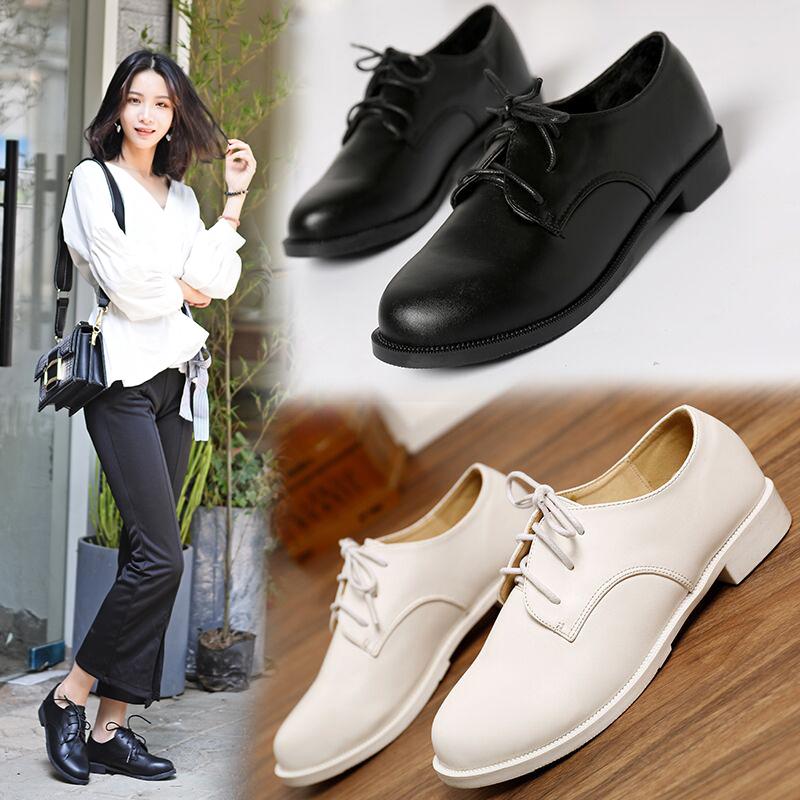 黑色小皮鞋女学生英伦圆头加绒系带单鞋ol职业工作鞋平底大码女鞋