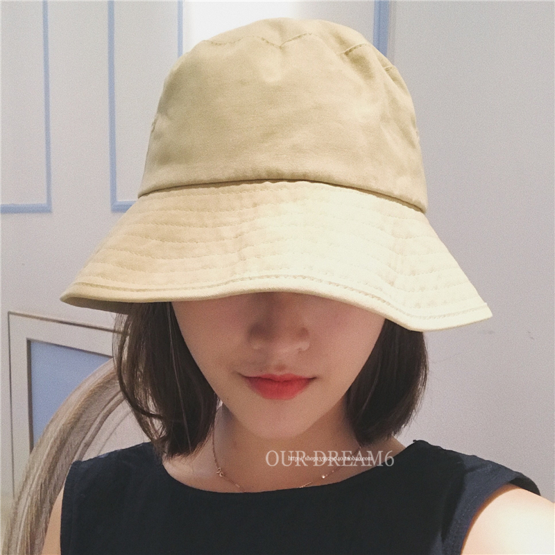 复古日系大檐渔夫帽纯色可折叠百搭黑色盆帽男女韩版夏季遮阳帽子