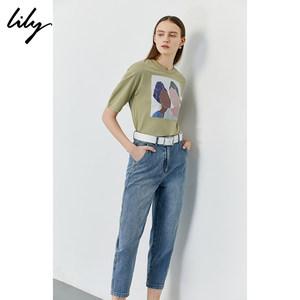 【时装周同款】Lily2020夏季新款女装高腰九分哈伦裤休闲裤牛仔裤