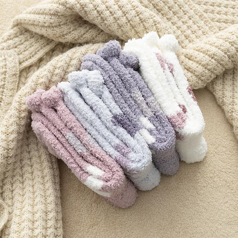 袜子女冬季珊瑚绒毛巾加厚保暖秋冬防滑硅胶地板袜居家可爱睡眠袜