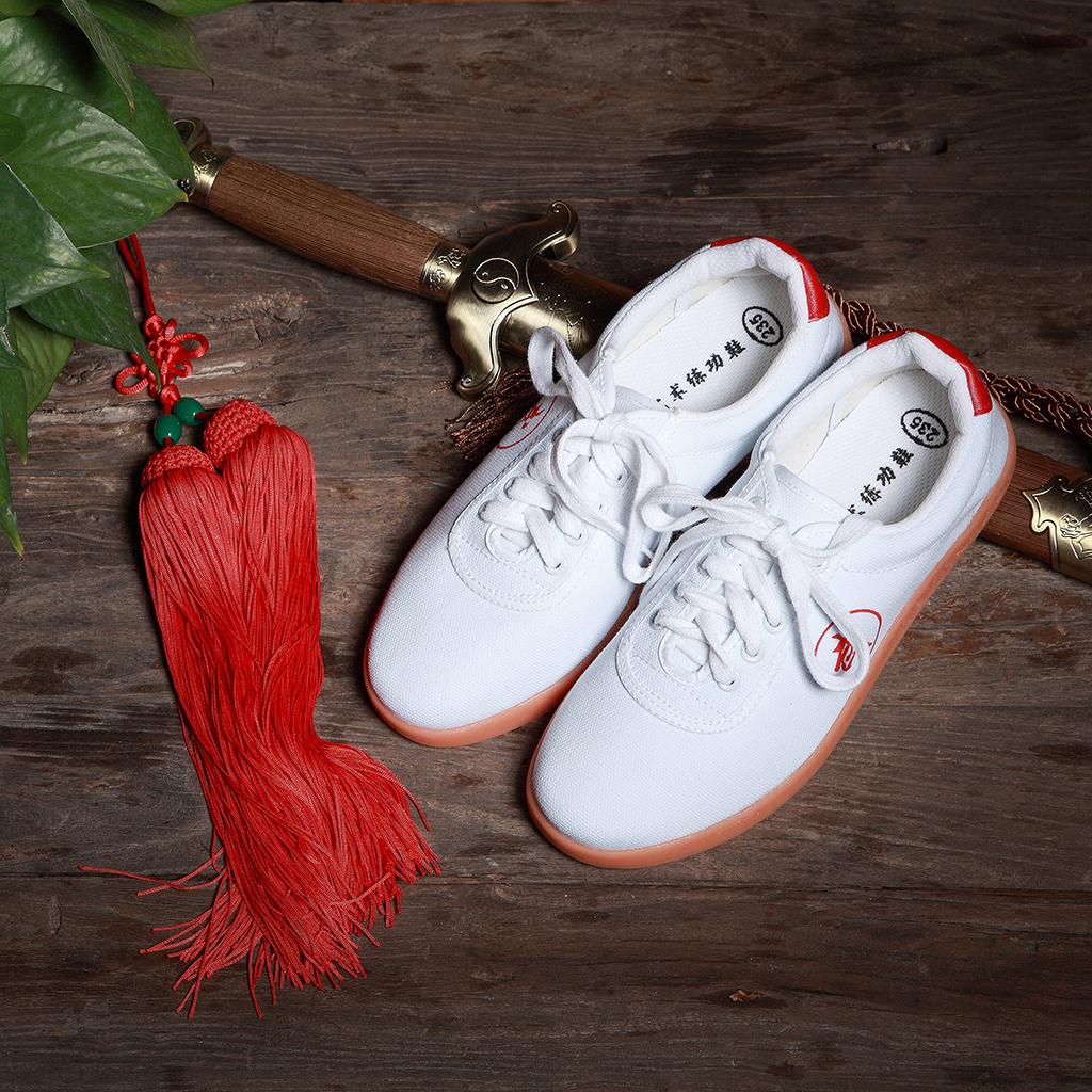 红棉太极鞋春夏牛筋底男女透气帆布鞋武术鞋练功鞋子太极拳晨练鞋