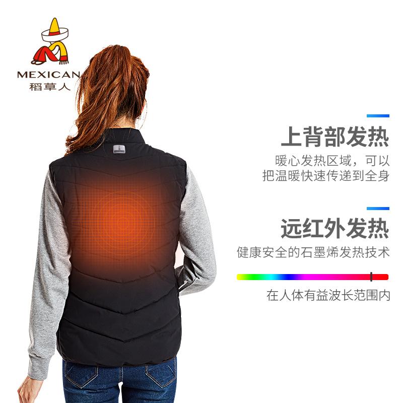 稻草人户外石墨烯电热马甲充电发热保暖衣服电加热背心自发热上衣
