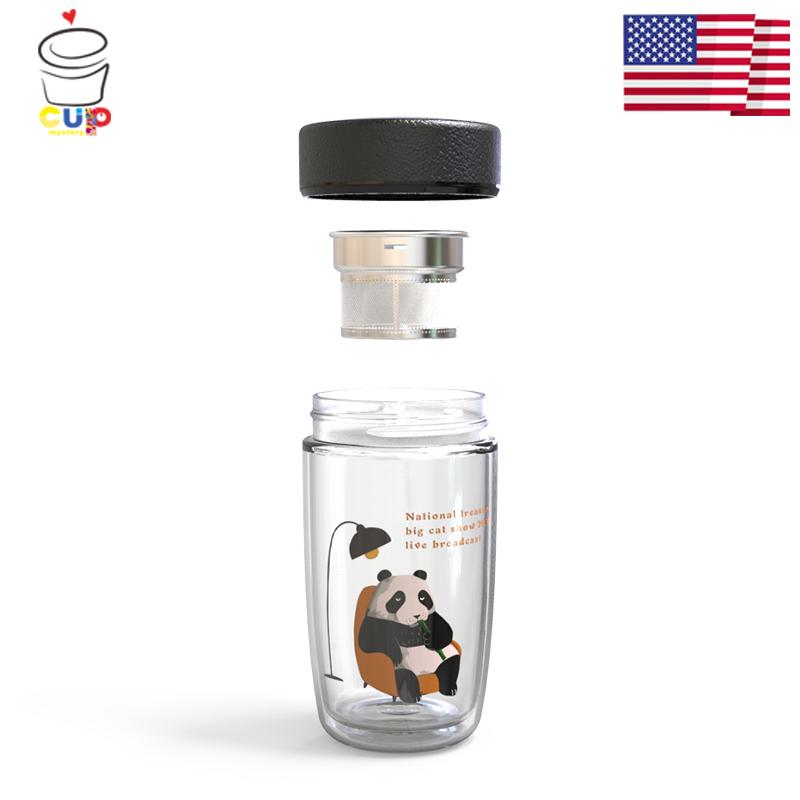 美国cup mystery双层商务车载早餐通勤卡通可爱熊猫高硼硅玻璃杯