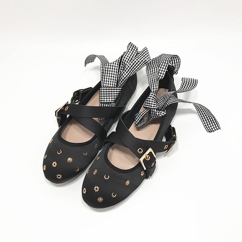 女鞋2019新款秋季蝴蝶结芭蕾舞绑带鞋平底鞋浅口铆钉圆头单鞋
