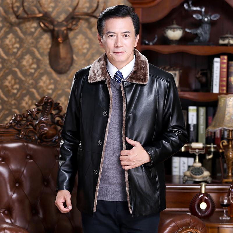冬季中老年人皮衣春秋外套爸爸装冬装加绒加厚男装中年男士皮夹克