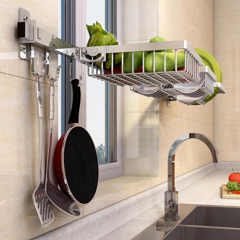 免打孔304不锈钢窗户厨房用品碗碟篮水槽池壁挂可折叠收纳整理架