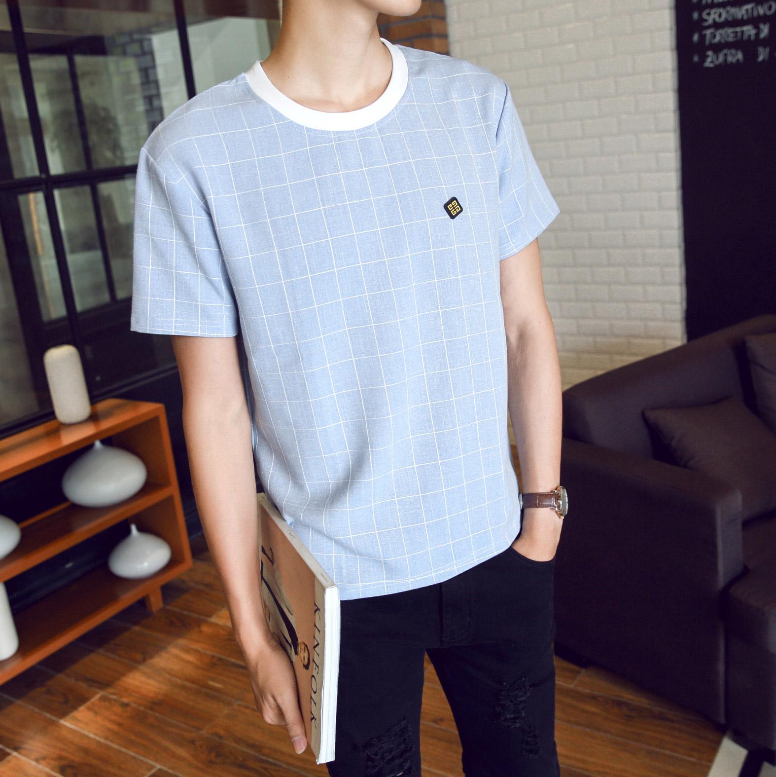 2018夏季潮格子男士短袖T恤韩版宽松休闲体恤半袖衣服男装