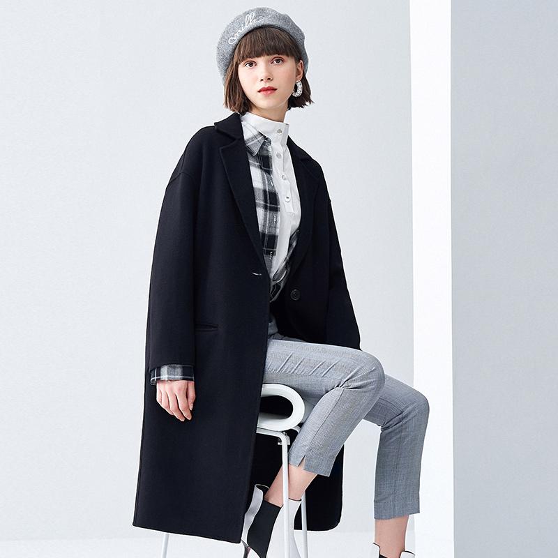 高梵2018秋冬新款赫本风双面绒羊毛呢大衣女外套中长款韩版无羊绒