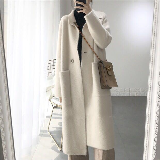 2020秋冬新款韩版中长款白色水貂绒外套女气质大口袋显瘦双面毛衣