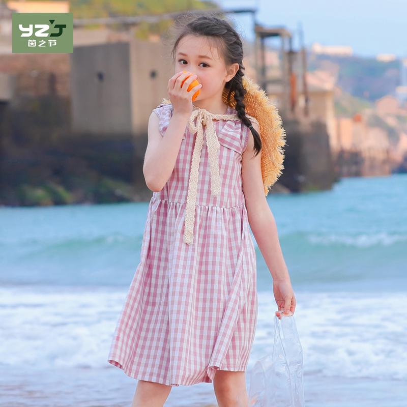 2018新款夏装女儿童公主裙洋气大女童连衣裙中大童格子沙滩棉布裙