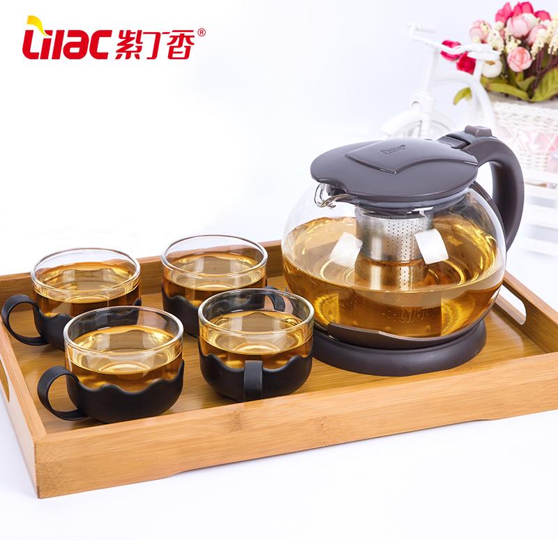 紫丁香 玻璃茶壶耐热花茶壶加厚冲泡茶壶家用大号办公养生花茶壶