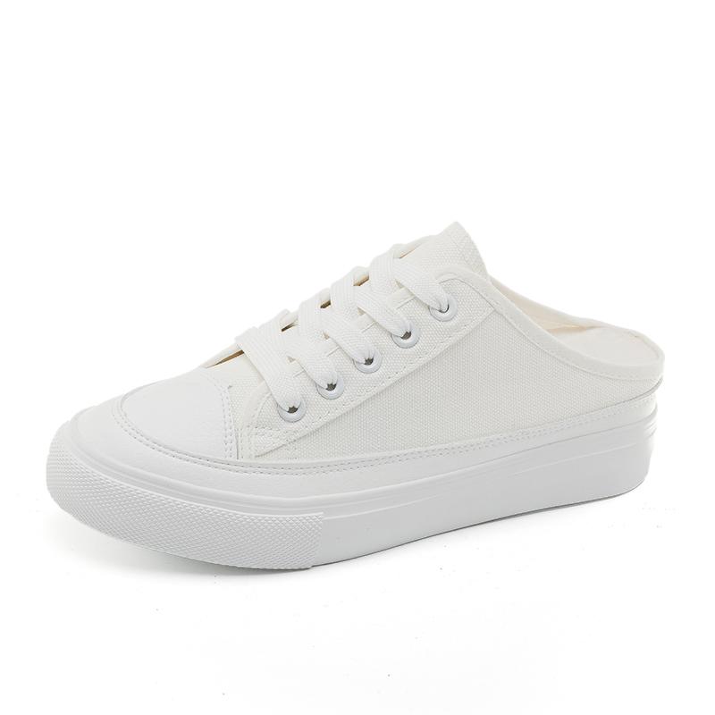 帆布鞋女2020春夏内增高半拖鞋透气懒人布鞋潮流板鞋学生小白鞋子