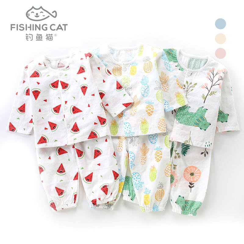 钓鱼猫2021新款宝宝长袖纱布衣短袖套装婴儿夏装家居服两件套