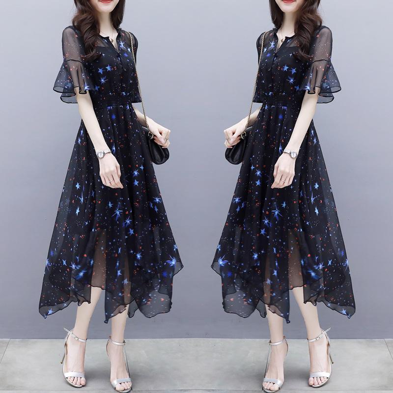2018夏季女装新款修身中长裙喇叭袖不规则气质名媛印花雪纺连衣裙