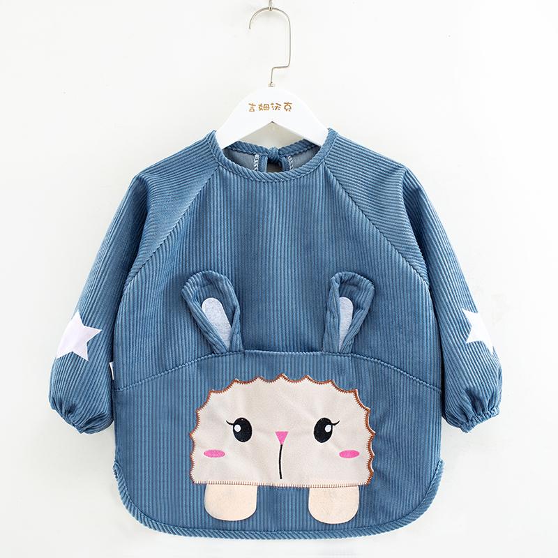 宝宝罩衣防水防脏儿童秋冬季女孩反穿衣围兜吃饭衣长袖婴儿围裙