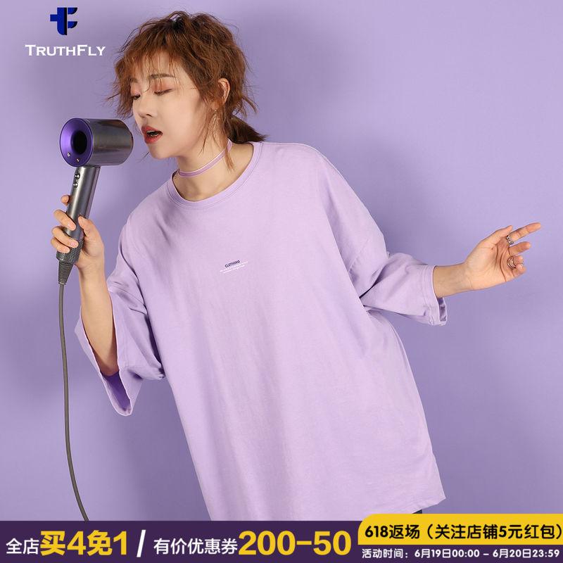 三角牙 女装2019新款潮OVERSIZE短袖欧美落肩纯棉半袖宽松上衣t恤